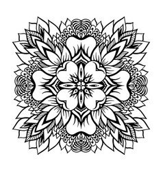 tropical monochrome mandala with a lotus flower vector image