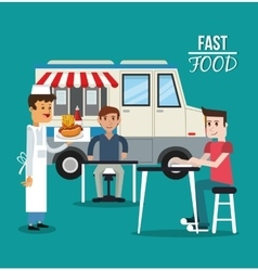 Truck and fast food design vector