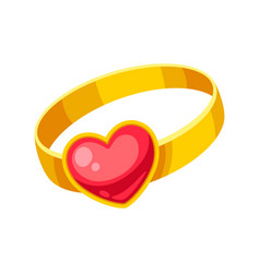 valentines day precious ring with heart vector image