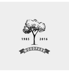 vintage tree logo Eco print hipster vector image