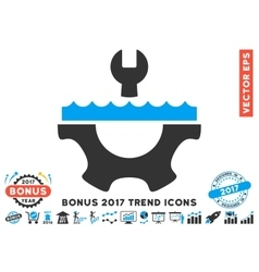 Water Service Gear Flat Icon With 2017 Bonus Trend vector