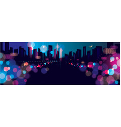 Wide panorama blurred street lights urban vector
