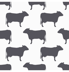 Cow silhouette seamless pattern Beef meat vector image vector image