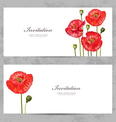 invitation cards with a red poppy for your design vector image vector image