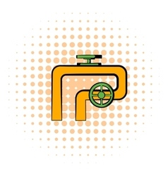 Pipeline with valve and handwheel icon vector image vector image
