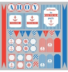 set of vintage nautical party elements vector image