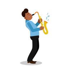 young black man playing sax cartoon character vector image
