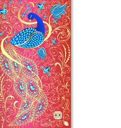 background with peacock with gold ornament vector image vector image
