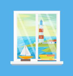 cartoon windows lighthouse view vector image