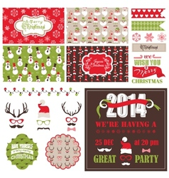 Christmas Retro Party Set - cards ribbons labels vector image vector image