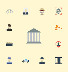 flat icons building jury judge gavel and other vector image vector image