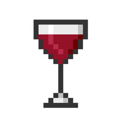 glass wine pixel art cartoon retro game style vector image