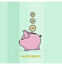 piggy pig for saving money line art vector image