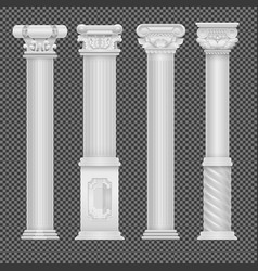 realistic white antique roman column isolated on vector image