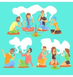 Young Hipsters Smoking Hookah And Electronic vector image