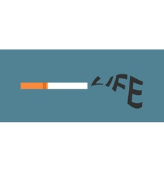 Cigarette with life word as smoke vector image