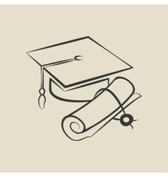 Graduation cap and diploma - vector image
