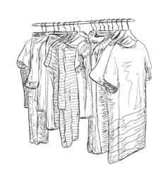Wardrobe sketch Hand drawn clothes shop vector image