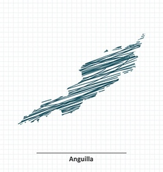Doodle sketch of Anguilla map vector image