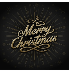 gold retro christmas sign on black background vector image vector image