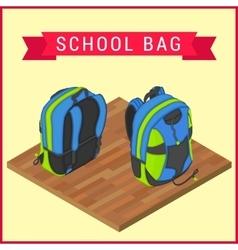 Schoolbag flat isometric knapsack vector