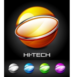 Set of color glossy sphere with metal elements vector image