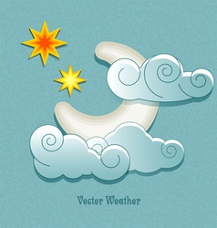 weather icons in retro style Moon behind the cloud vector image vector image
