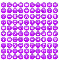 100 playground icons set purple vector