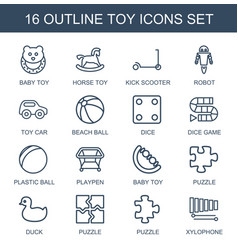 16 toy icons vector
