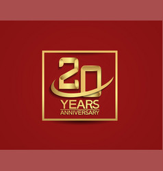 20 years anniversary with square and swoosh vector