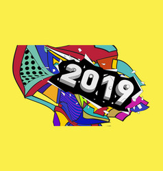2019 new year text with colorful abstract vector