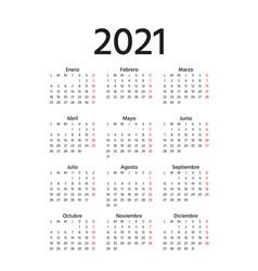 2021 spanish calendar template year planner vector