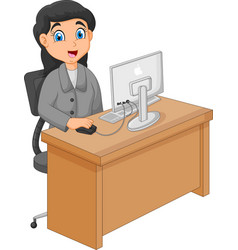 a businesswoman working with compu vector image