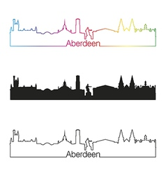 Aberdeen skyline linear style with rainbow vector image