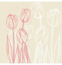 Abstract floral with tulips on beige background vector