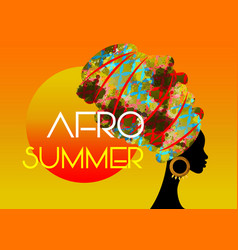 afro summer party black african head woman vector image