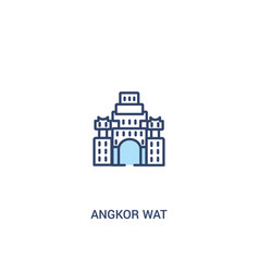 Angkor wat concept 2 colored icon simple line vector