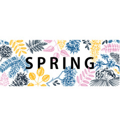 banner with spring trees in flowers hand d vector image