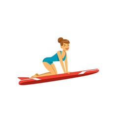 beautiful girl in blue swimsuit with red surfboard vector image