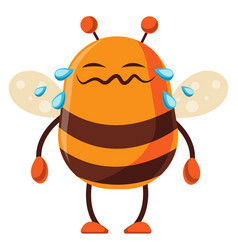 Bee is crying on white background vector