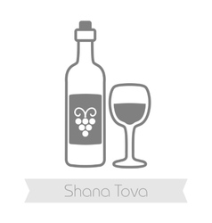 Bottle of wine and glass Rosh Hashanah icon vector