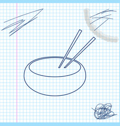bowl with asian food and pair chopsticks vector image