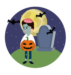 boy with zombie costume and rip stone vector image