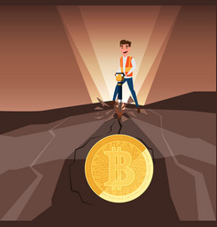 businessman mining bitcoins with jackhammer vector image