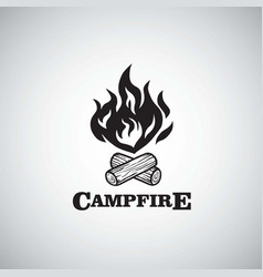 campfire mountain adventure retro logo vector image