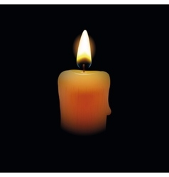 Candle on black background vector image