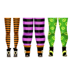 cartoon witch legs in color striped stockings vector image