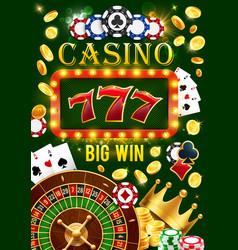 Casino gamble games jackpot win golden coins vector