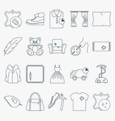 Collection outline dry cleaning icons set of vector
