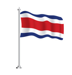 costa rica flag isolated wave flag costa rica vector image